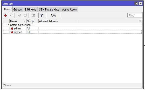 MikroTik User List Window