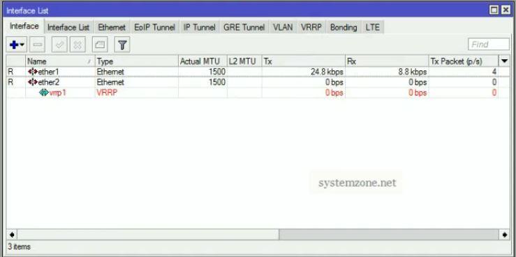 MikroTik Hardware Redundancy with VRRP - System Zone